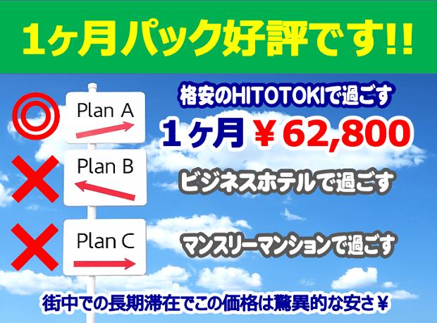 静岡駅近くのウィークリーマンションやマンスリーマンションより格安なHITOTOKI1ヶ月パック