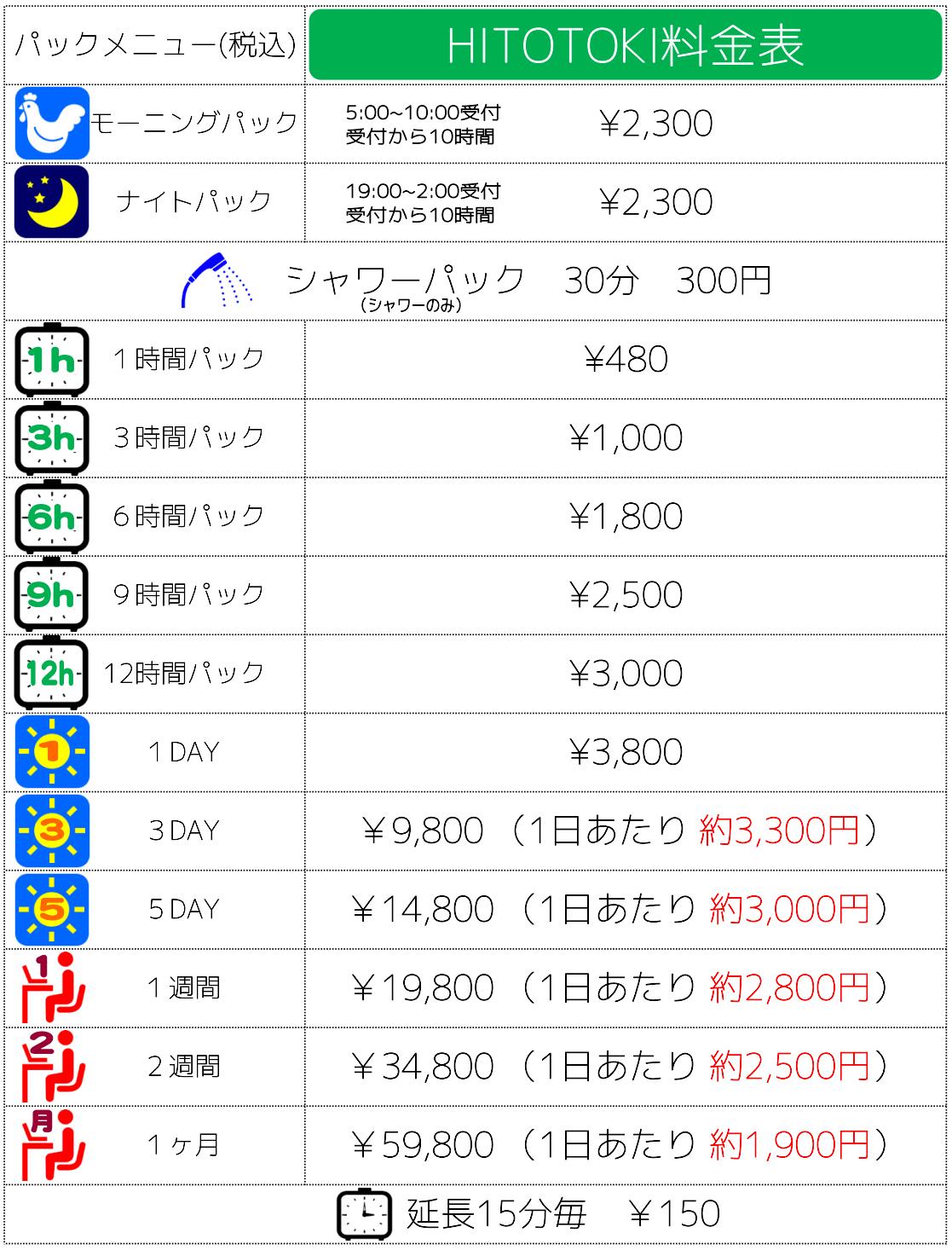 静岡駅近くのビジネスホテルやネットカフェより格安なHITOTOKI料金表