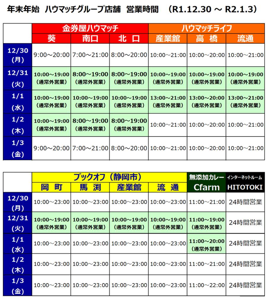 年末年始の営業時間(ハウマッチ・グループ)