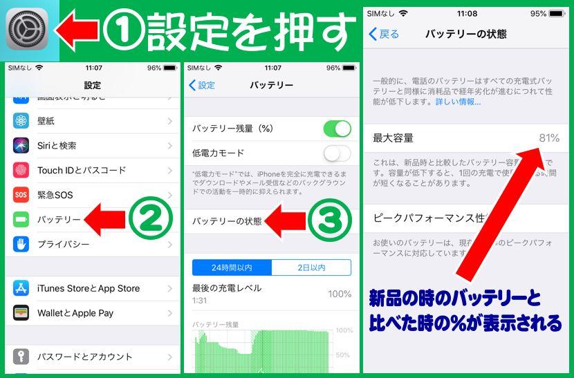 iPhoneのバッテリー性能チェック