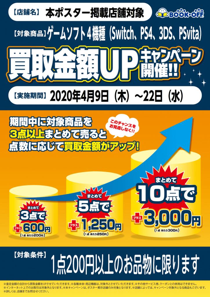 ゲームソフト買取金額UPキャンペーン開催