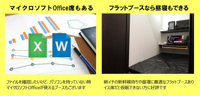 インターネットルームHITOTOKI(旧:まんが喫茶ひととき)のマイクロソフトOffice・フラットブース