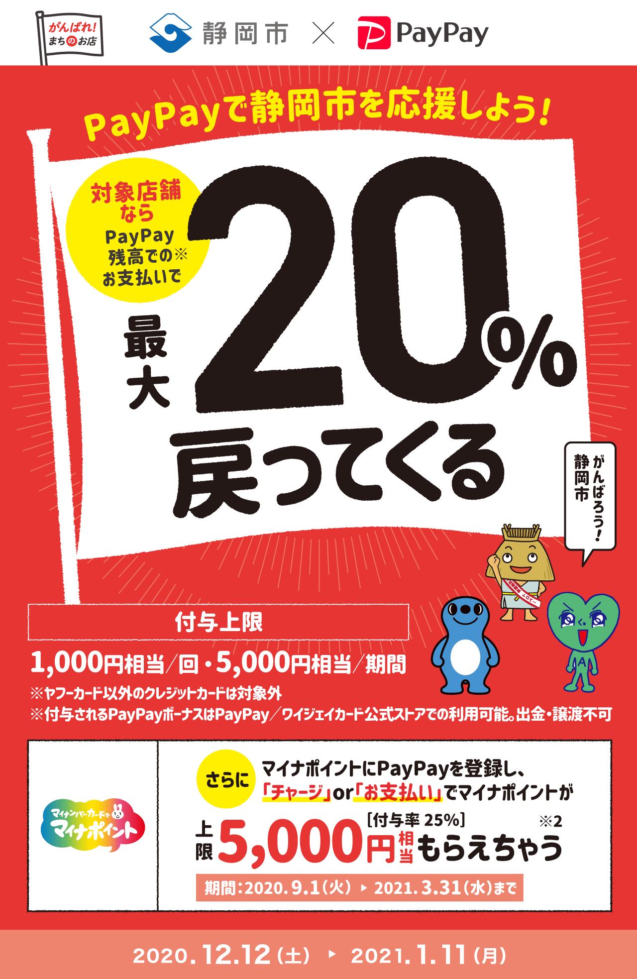 エール静岡!対象のお店で最大20%戻ってくるキャンペーン
